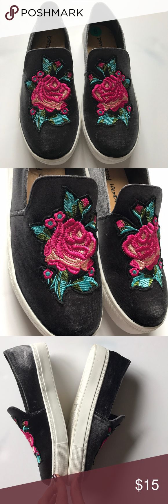 NWOB Dirty Laundry slip on embroidery sneakers 8 New without the box Dirty Laundry slip on sneakers size 8  Gorgeous velvet detail with embellished front  Smoke free pet friendly home  Thank you for looking! Dirty Laundry Shoes Sneakers
