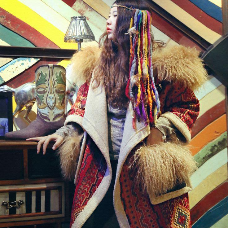 Купить товарMX017 Оригинальный Дизайн 2016 Экзотические старинные стиль утолщаются пальто женщин старинные негабаритных длинные искусственного овечьей шерсти пальто зимнее в категории �%