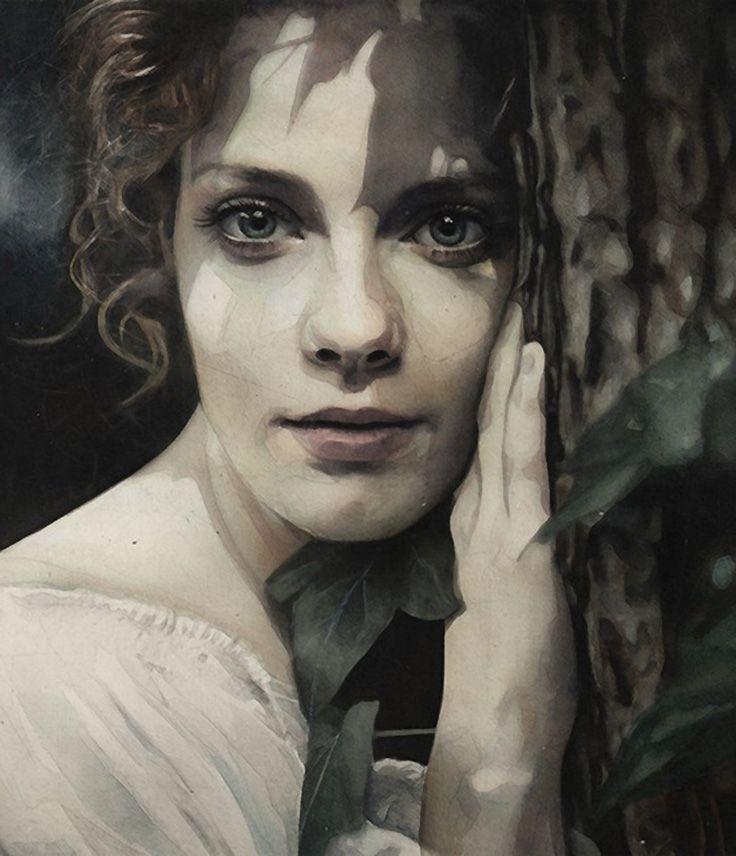 Marcos Beccari, watercolor {figurative art beautiful female head woman face…