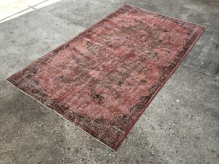 Pastel Pink Rug & Carpet Vintage TURKISH ANATOLIAN 9'5 -  5'5 Overdyed Oushak by EclecticRug on Etsy
