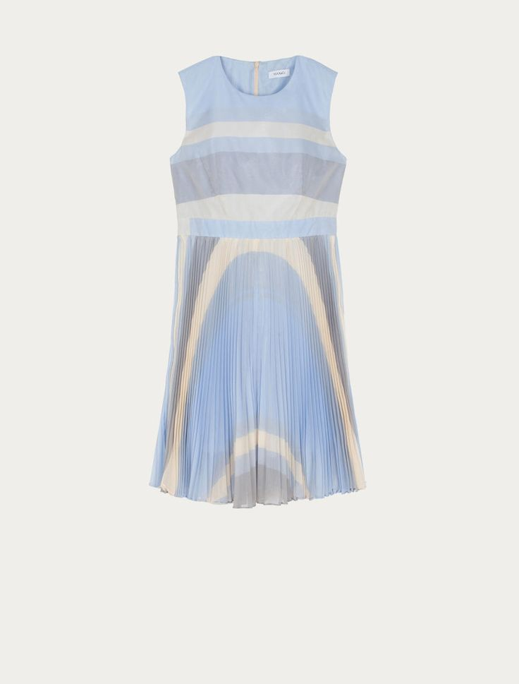 MAX&Co. - Pleated fit & flare dress, Light Blue - Striped muslin dress. Fit & flare styling, fitted at the waist and flared at the hem. Fitted in the torso, slightly loose at the hips. Belt set into the waistline. Bias-cut plissé soleil skirt. Above-the-knee length. Round neckline. Sleeveless. Invisible zip closure in the back. This garment is lined. - Free Shipping and Returns!