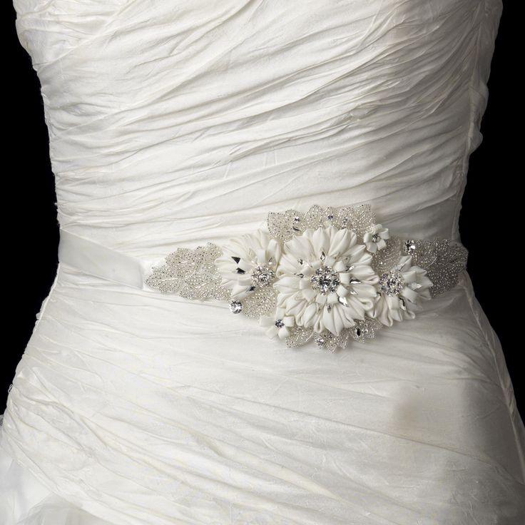 Ivory Beaded Rhinestone Flower Wedding Dress Sash Belt - Affordable Elegance Bridal -