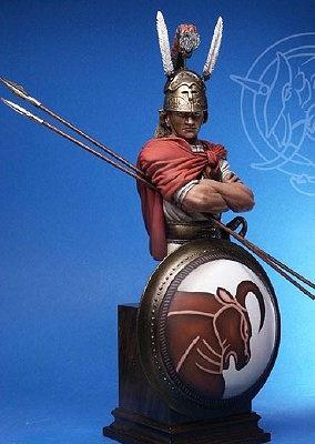 B-005 - Sannita Warrior, 4th Century B.C. (?)mm bust, white metal(?).
