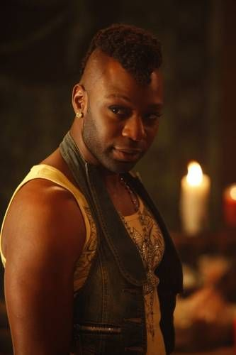 Nelsan Ellis as Lafayette Reynolds. ok might be gay on the show, but straight in real life. quite a good looking guy.
