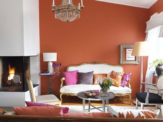 Vibrant-Pink-amp-Orange-from-Apartment-Therapy-Main-by-Sparrow-King1Movie Room, Dining Room, Colors Stories, Living Room Wall, Colors Schemes, Pink Room, Art House, Salsa Dance, Accent Wall