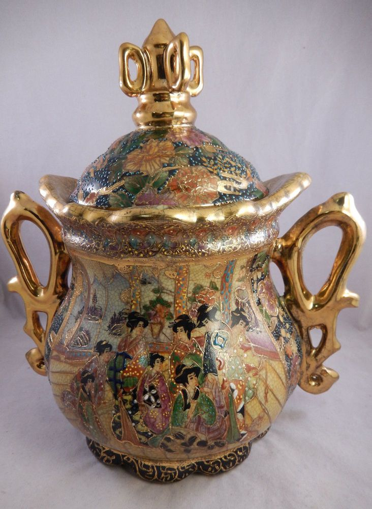 Satsuma 10 Quot Vase Jar Handles Amp Lid Gold Decorated Geisha Scenes Chinese Japanese 39 99 Jewel
