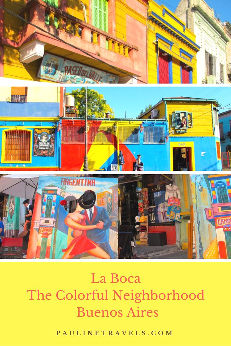 La Boca the colorful neighborhood that you want to see in Buenos Aires. Take pictures of the famous colorful houses and then leave the neighborhood before dark. The area is beautiful with all the colorful buildings and the funny designs.