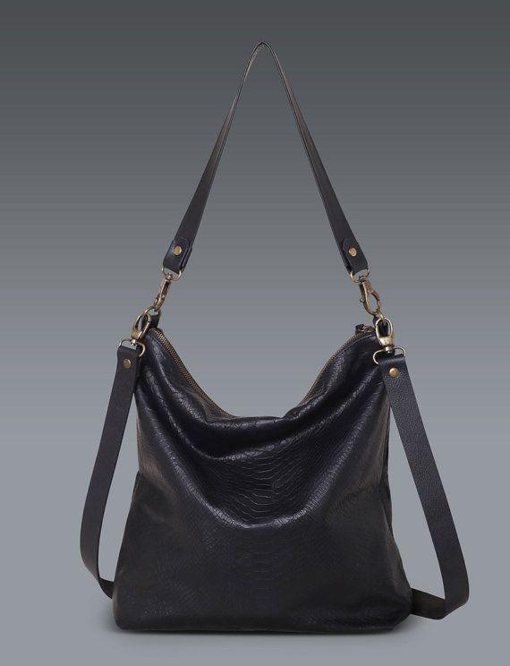 Check out Black Leather Messenger Bag / Women leather tote bag / Black School bag / Laptop Bag / MacBook Bag / Shoulder Bag - Vintage Retro Look- Sara on tesleatherdesign