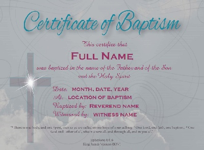 17 best images about baptism on pinterest a tree for Baptism class certificate template