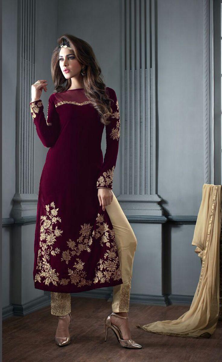 Maroon Velvet Pakistani Style Suit 65574 In 2019 Dresses