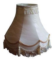"12"",14"", 16"", 18"", 22"" Traditional Double Scallop Ivory Cream Tassel lightshades"
