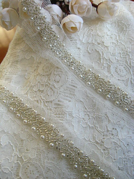pearl beaded Trim bridal sash trim jewelry trim by WeddingbySophie, $7.90
