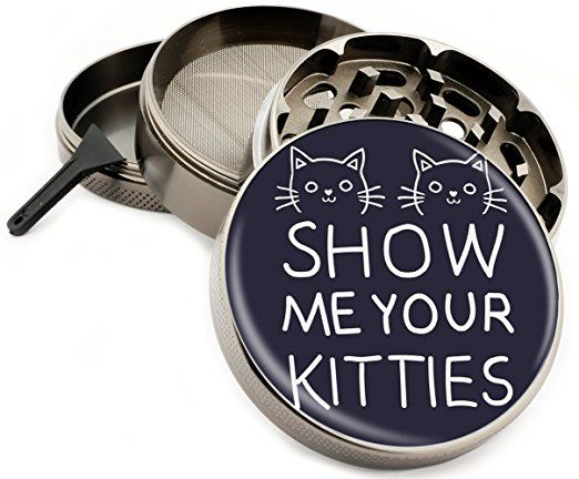 "Show Me Your Kitties 4 Piece Herb Grinder Zinc Titanium Metal Grinders 2.5"" Black Diamond Grind Cats Cat Fun funny Pets - Gift Box"