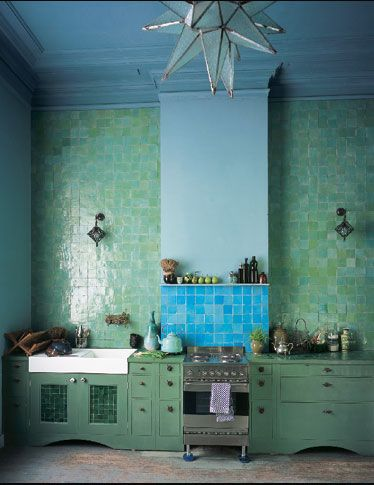Love the blue wall and ceiling contrasted with the jade tiles and turquoise. KITCHEN