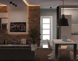 Mieszkanie Szczecin - Mały salon z kuchnią z jadalnią, styl nowoczesny - zdjęcie od Bartosz Andrzejczak Architekt Wnętrz
