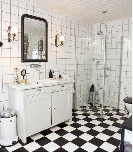 schackrutigt golv badrum - Sök på Google