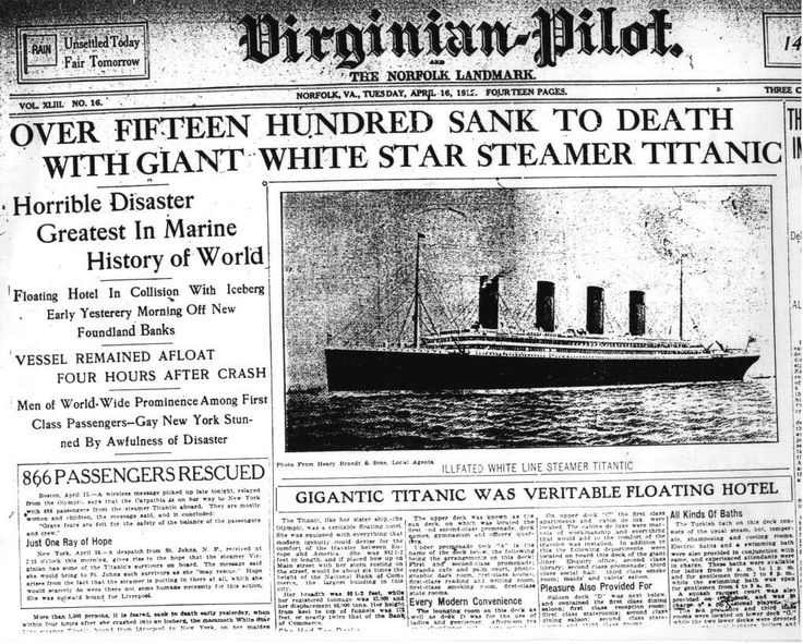 A very auspicious day in history. At 11:40 p.m. R.M.S.Titanic hit an iceburg. Death Tole Passengers: 2,435, crew: 892