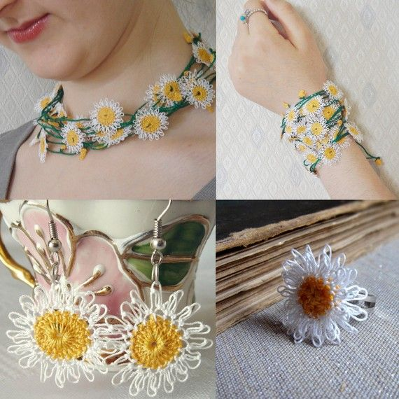 Jewelry- This piece is interesting, the Daisies are Mixed Media: Yellow Crochet Centers & the Petals look like Needle Lace Stitches, in white. But, whether i'm wrong or right, it's still a pretty & charmingly vintage piece!