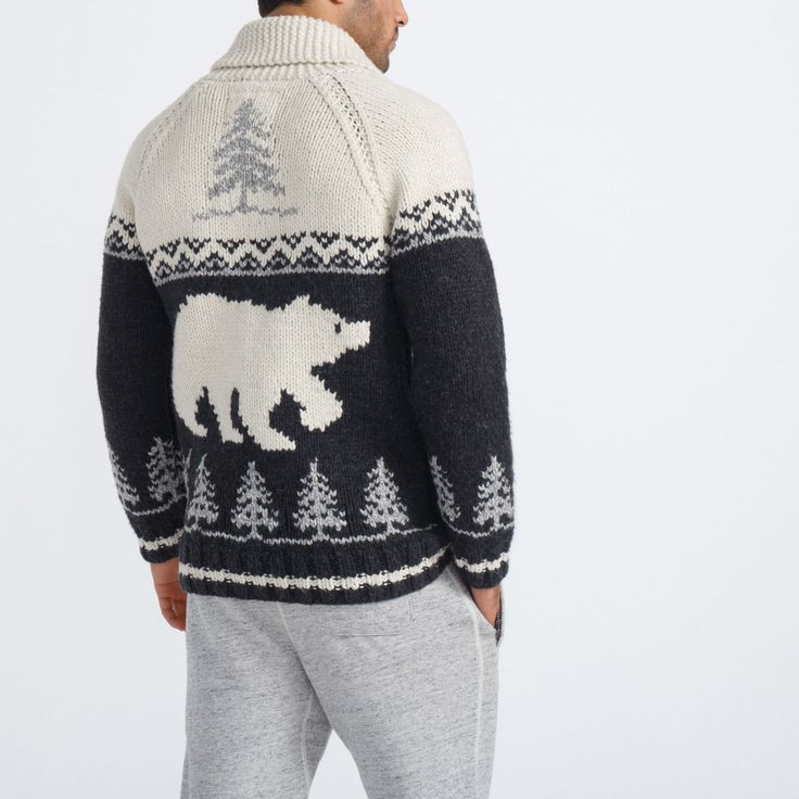 Unisex Mary Maxim Polar Bear Sweater | Roots - Holiday 2015, style 01050335, Black Mix