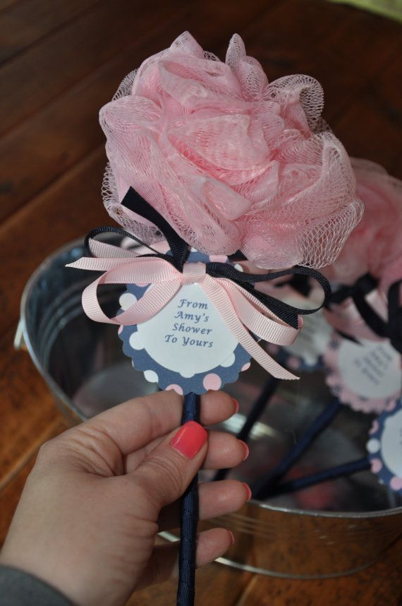 Pink and Navy Unique Baby Shower Favor Bath Puff Baby Sea Rattle