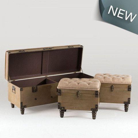 Ottoman Set - Rustic Fabric & Wood