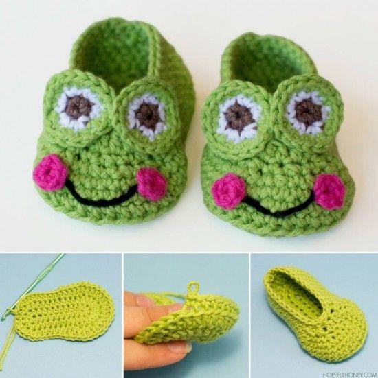 Frog Booties Free Crochet Pattern༺✿ƬⱤღ  https://www.pinterest.com/teretegui/✿༻