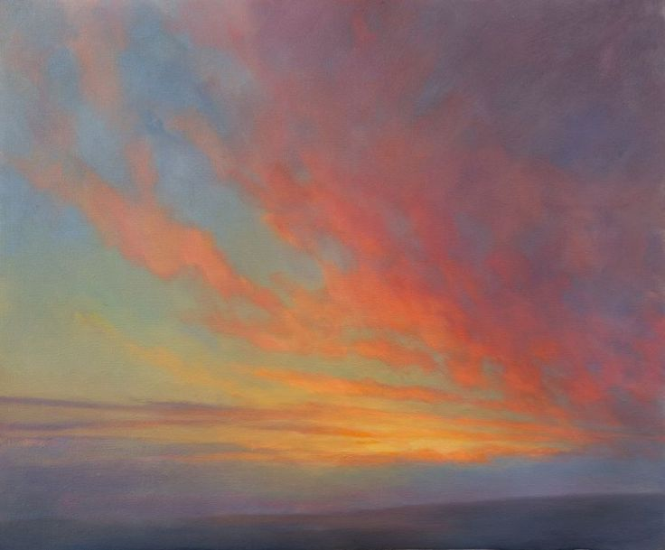 Ken Bushe An oil painting of the close harmonies observed at sunset - Sunset Study