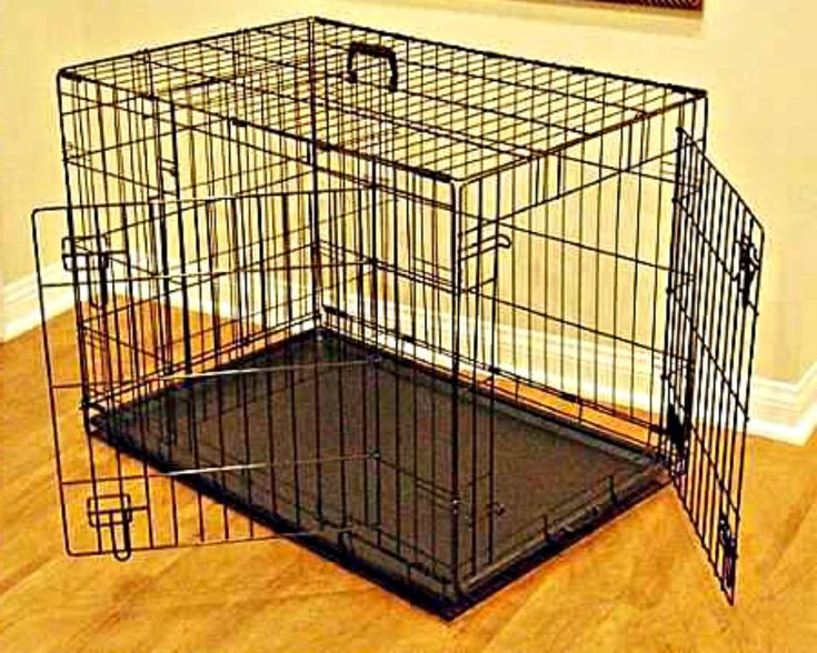 "Dog Kennel Crate Large 48"" Heavy Duty Metal Double Door Steel Pet Cage XL Size L #eVirtualdeals"
