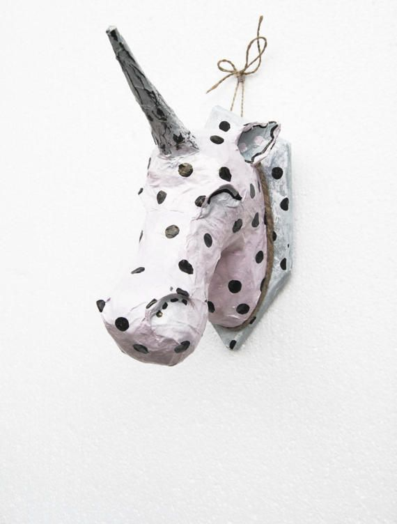 Polka dots Unicorn trophy sculpture, Unicorn head wall mount, faux taxidermy, paper mache head, Polka dots decor, Magic Fantasy Pink decor