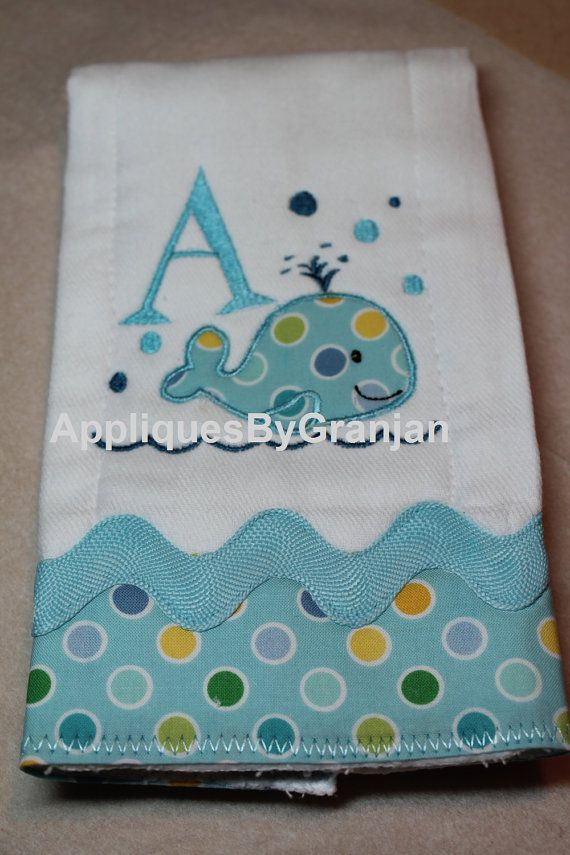 Whale Baby Whale Burp Boy Burp Cloth Girl di AppliquesByGranjan