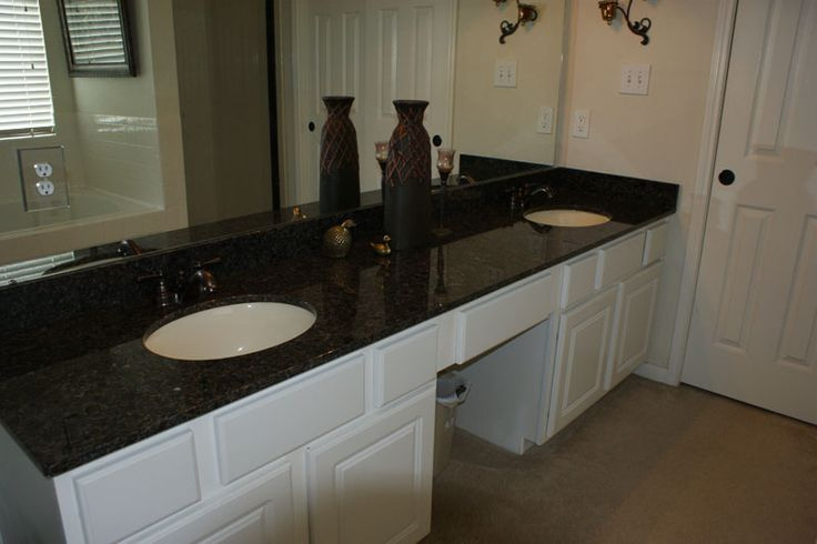 White cabinets with black impala granite bathrooms black - Black marble bathroom countertops ...