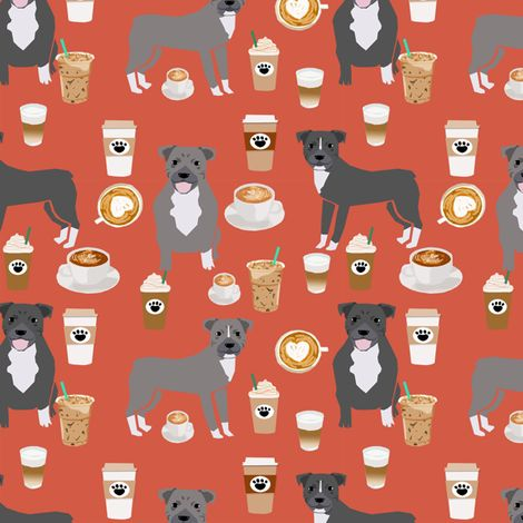 Pitbull grey coat coffee latte cafe fabric dog breed red orange by petfriendly