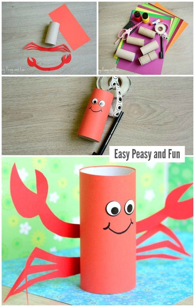 Paper Roll Crab Craft Mermaid Crafts Crab Crafts Little