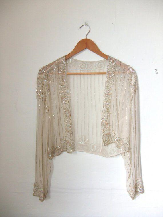 Sheer Silk Beaded Bolero Shrug Cardigan Silk Instagram