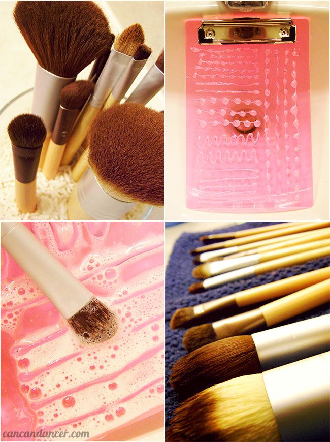 DIY Makeup Brush Cleaner from plastic clipboard & hot