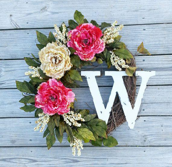 Spring Wreath Summer Wreath  Pink Peony Wreath by SimplySundayShop