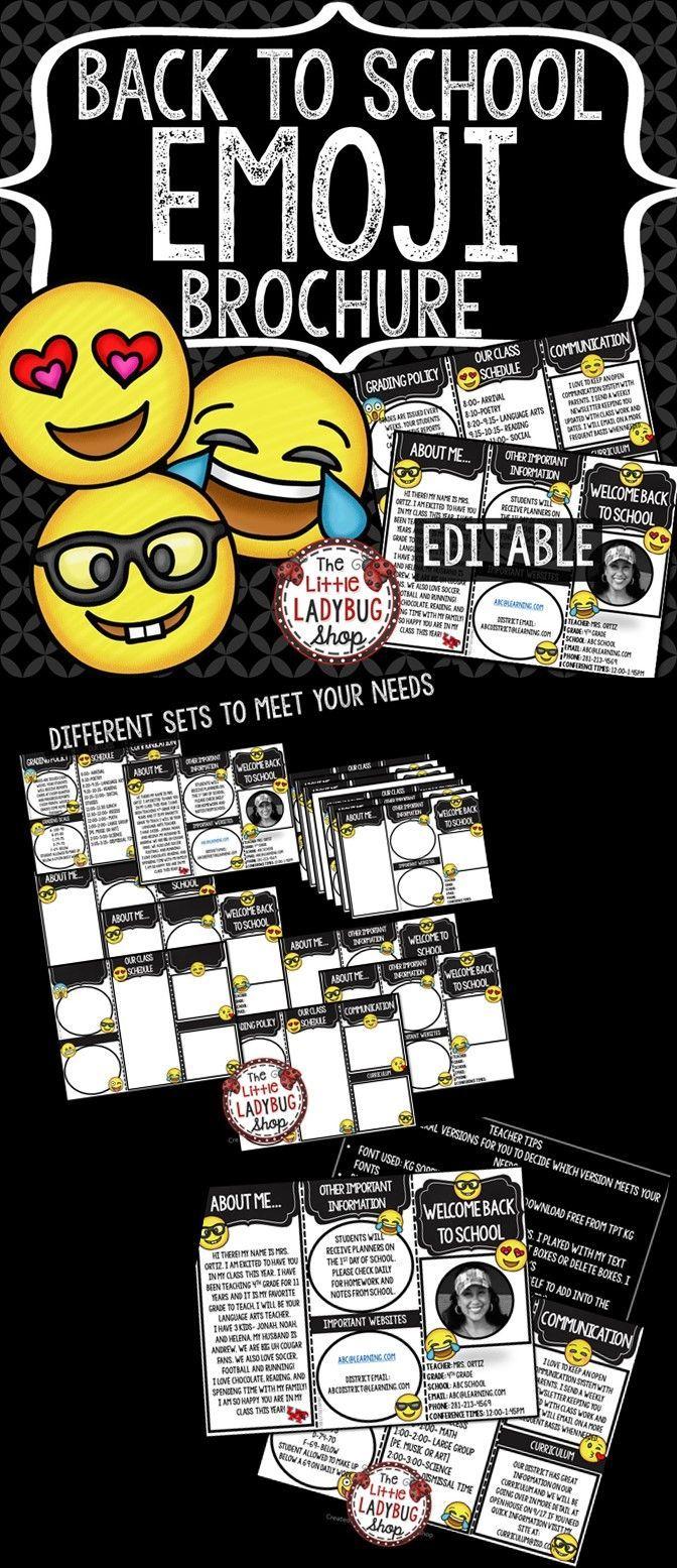 meet the teacher brochure template - 102 best images about emoji classroom theme on pinterest