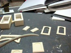 Dollhouse Miniature Furniture - Tutorials   1 inch minis: KITCHEN CABINETS - How to make contemporary kitchen cabinets from mat board. FINISHING THE CABINETS.