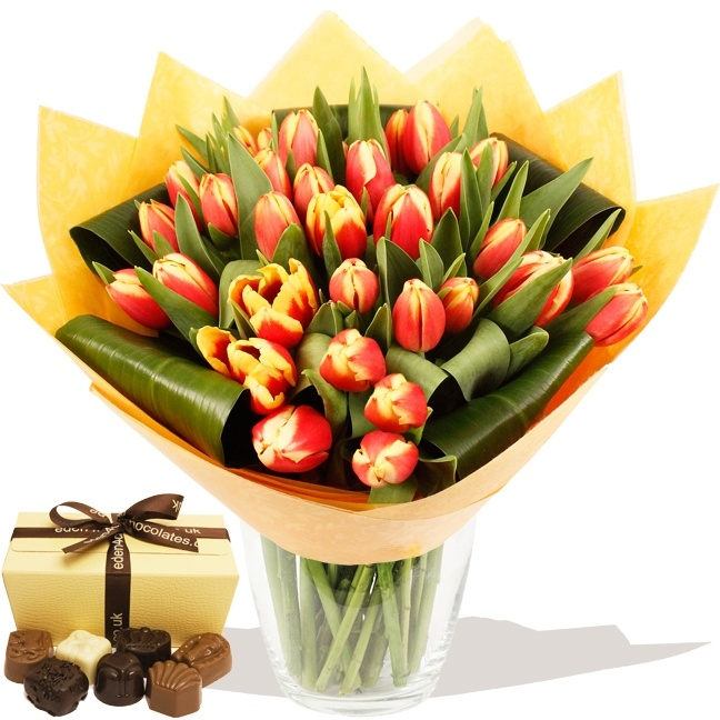 Flowers EASTER 2013  - Luxury Edged Tulips Hand-tied (Orange) & Chocolates (EDN05)