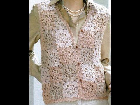 ▶ Chaleco Rosa Dama Motivos Cuadros a Crochet - YouTube