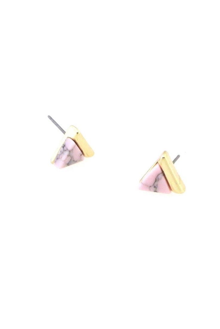 Pink Triangle Stud Earrings | Current Boutique