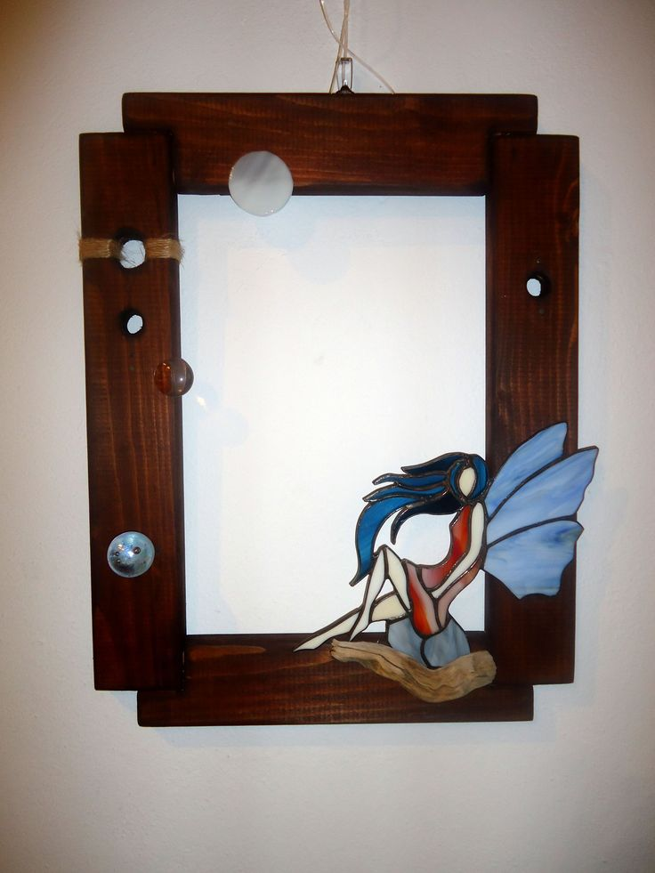 Stained glass fairy in a wwoden frame