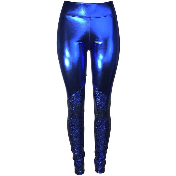 Metallic Blue and Avatar Mid-Rise Leggings Pants Rave, Festival, EDM,... (3,510 INR) ❤ liked on Polyvore featuring pants, high waisted pants, stretch pants, high waisted spandex pants, high-waisted trousers and 80s pants