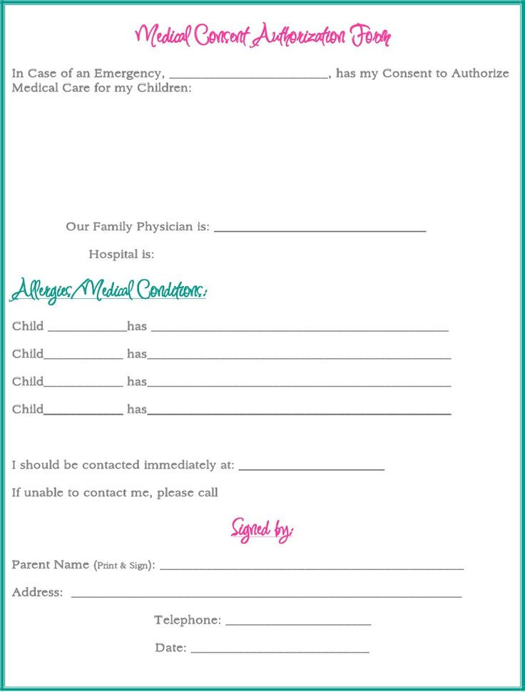 Best Printable Medical Release Form For Children Images  Best