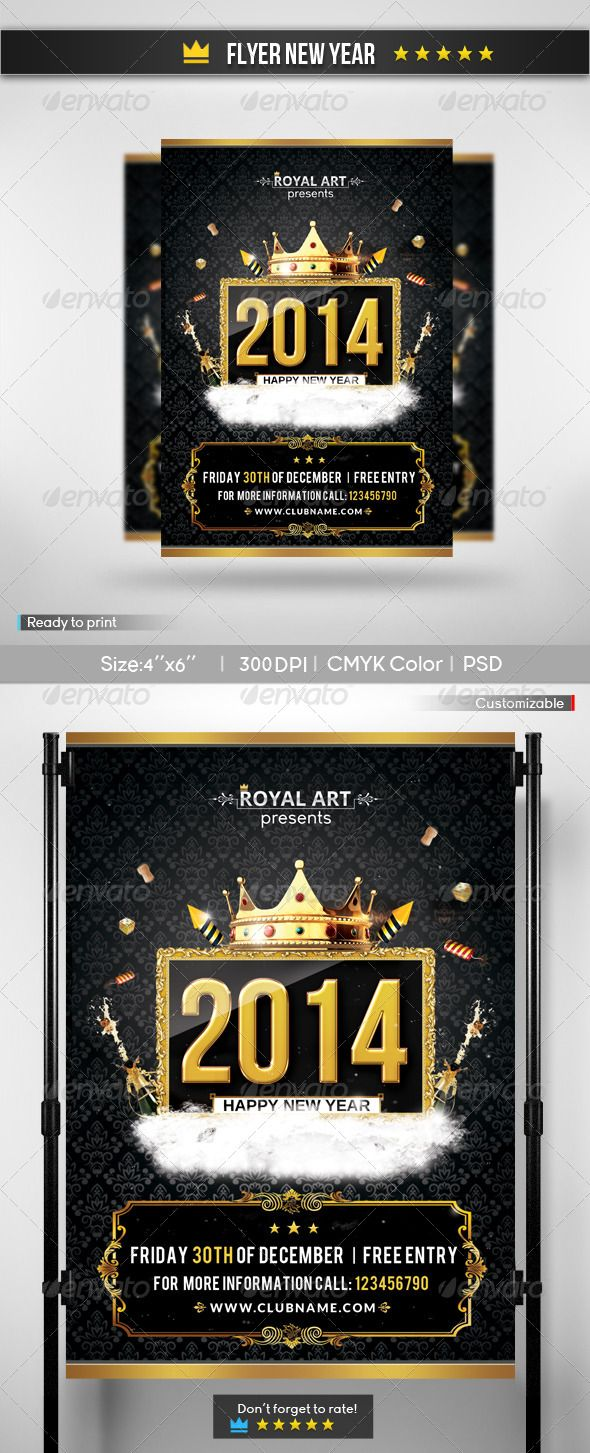 """Flyer New Year 2 #GraphicRiver Description Flyer new year ! It's easy to change the fonts and modify the PSD file so you can create unique looks. File features The package you download includes 1 PSD files . Sizes available: 4×6 (+0.25"""" bleeds) The PSD files are fully layered and print-ready (300dpi, CMYK ), just edit them and send them to the print company. The font used: Young: .dafont /young.font Bebas: .dafont /bebas.font Arimo: .google /fonts/specimen/Arimo Open Sans: .google…"""