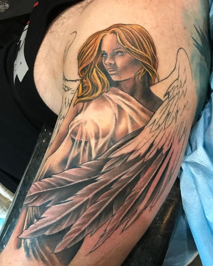 Some progress work on Michael's angel half sleeve. Now booking appointments please email noelinwheelertattoo@gmail.com or the shop info@basilicatattoo.com