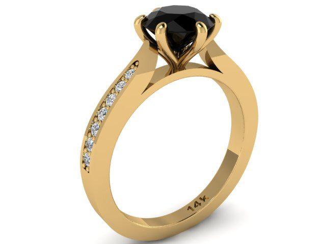 Black Diamond Wedding Ring, Diamond Engagement Ring, Classic Elegant Ring, 6 Prong Engagement Ring, Black Diamond Solitaire Ring by BridalRings on Etsy https://www.etsy.com/listing/473356578/black-diamond-wedding-ring-diamond