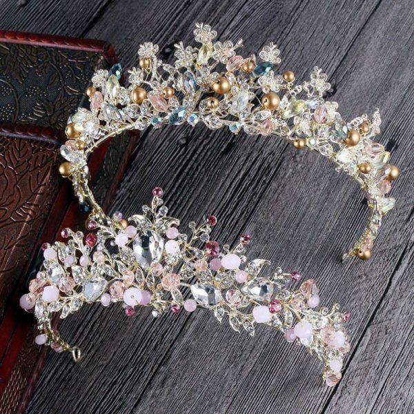 New Beige Beaded Gold Rhinestone Tiara « Dance Costume Supplies