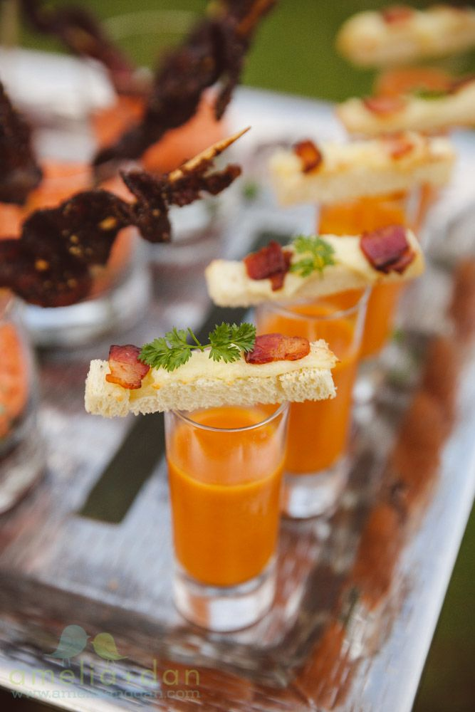 Miniature Bacon Grilled Cheese and Tomato Bisque | Bacon Bar | Hors D'Oeuvres & Appetizers | Fall Inspiration | Patrick Properties Culinary Team | Charleston, South Carolina | Amelia + Dan Photography