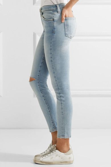 Current/Elliott - The High Waist Stiletto Distressed Skinny Jeans - Light denim -